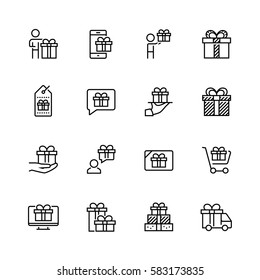 Gifts related vector icon set in thin line style