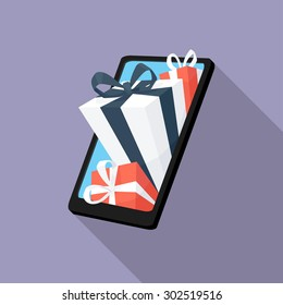 Gifts from smartphone flat icon. Modern flat icons with long shadow effect in stylish colors. Icons for Web and Mobile Application. EPS 10.