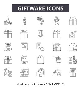Giftware line icons, signs set, vector. Giftware outline concept, illustration: birthday,anniversary,holiday,gift,giftware,package,christmas,present