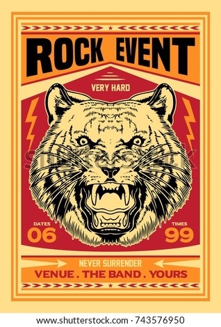 gig poster template tiger rock event stock vector royalty free