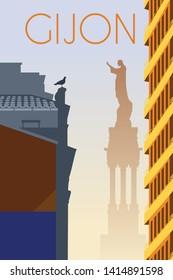 Gijon city Asturias Spain retro poster with cityscape and landmarks vector illustration