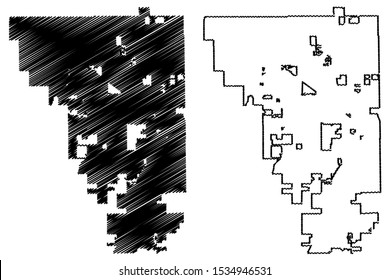 Gilbert City ( United States cities, United States of America, usa city) map vector illustration, scribble sketch City of Gilbert map