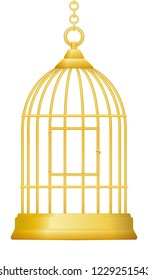 Gilded cage. Symbol for being trapped in luxury and wealth, but without freedom. Isolated vector illustration on white background.