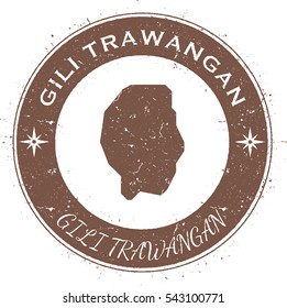 Gili Trawangan circular patriotic badge. Grunge rubber stamp with island flag, map and name written along circle border, vector illustration.