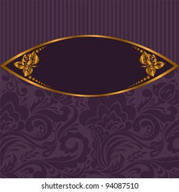 gilt vignette with roses on a purple striped background