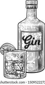 Gin cocktail drink in a glass with ice and lime or lemon accompanied by a bottle in a vintage woodcut etched or engraved style. Possibly a G and T also known as a Gin and Tonic
