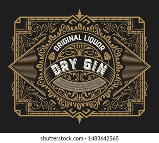 Gin label with floral frame