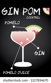 Gin Pom (Pomelo) cocktail recipe vector with pomelo wedge.