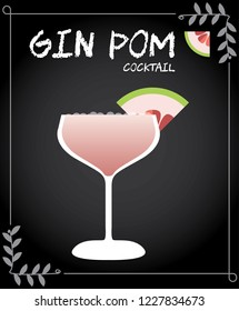 Gin Pom (Pomelo) cocktail vector with pomelo wedge.