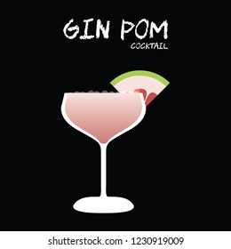 Gin Pom (Pomelo) cocktail vector with pomelo wedge garnish on square black background.