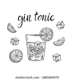 Gin tonic classic cocktail hand drawn vector illustration. Glass with ice and a slice of lime, for cocktail cards. Homemade gin tonic lettering, isolated vector illustration.