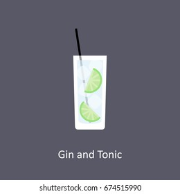 Gin and Tonic cocktail icon on dark background in flat style