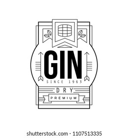 Gin vintage label design, dry strong drink, alcohol industry monochrome badge vector Illustration on a white background