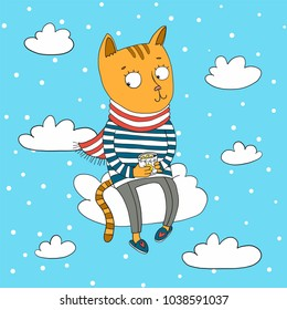 Ginger cat drink tea with lemon on the cloud. Vector character children book illustration.