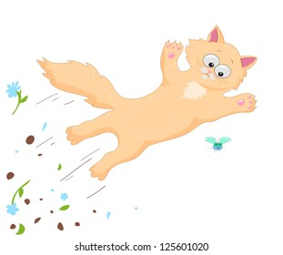ginger cat jumping over the green fly