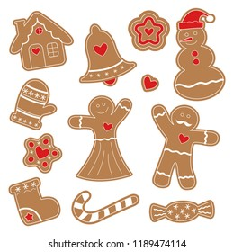 Ginger figurines. Snowman, gingerbread man, gingerbread house, Christmas tree, snowflake, handgrip, sock, heart, lollipop. Merry Christmas. Vector background.