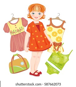 ginger girl, bag and set clothes for summer