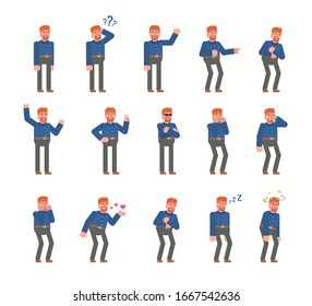 Ginger haired man showing various emotions set. Businessman crying, laughing, tired, suprised and showing other expressions. Flat design vector illustration