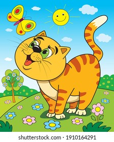 Ginger happy cat looks at a butterfly