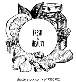 Ginger, honey and lemon. Composition with hand drawn graphic illustrations