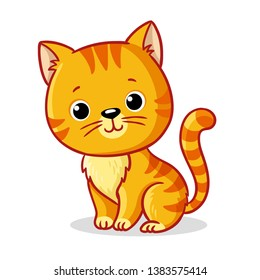 Ginger kitten sitting on a white background. Cute animal in cartoon style. Vector illustration.