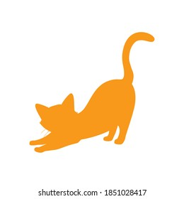 Ginger orange cat pose silhouette isolated on white background. Vector