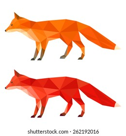 Ginger, red fox. Abstract polygonal geometric fox. Triangle fox set isolated on white. Fox side view for design card, invitation, banner, poster, book, album. Nature, animal, wildlife theme. Fox icon