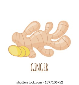 Ginger root icon in flat style isolated on white background. Superfood ginger medical herbal spice. Vector illustration.