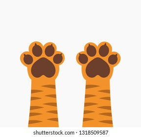 Ginger tiger cat paws up. Vector illustration.