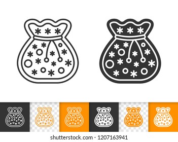 Gingerbread black linear and silhouette icons. Thin line sign of santa bag. Xmas outline pictogram isolated on white, transparent background. Vector Icon shape. Cookie template simple symbol closeup