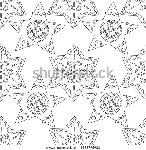 gingerbread black white illustration coloring 600w