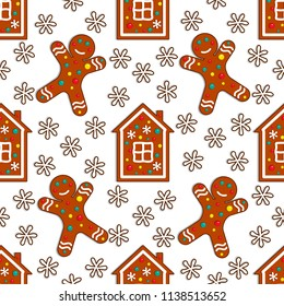 Gingerbread candy seamless pattern on white background with house and gingerman. Vector illustration.