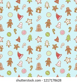 Gingerbread cartoon for Merry Christmas vector seamless pattern.