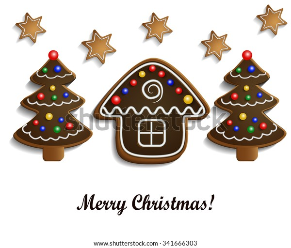 Gingerbread Chocolate Trees House On White Stock Vector