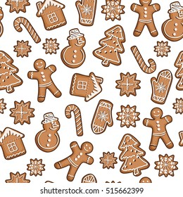 Gingerbread christmas cookie seamless vector pattern