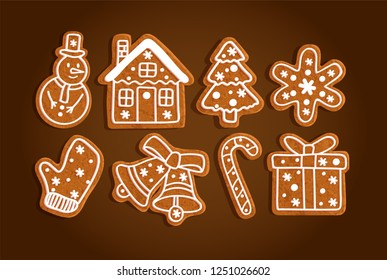 Gingerbread Christmas symbols, cookie set on a brown background, snowman, house, tree, snowflake, mitten, bells, lollipop, present, vector illustration
