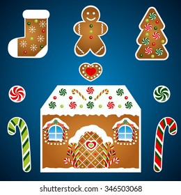Gingerbread christmas vector set on blue background. House with candies, heart, sock and christmas tree