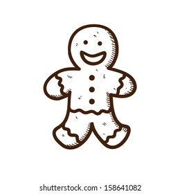 Gingerbread cookie. Christmas and New year design element isolated on white