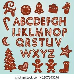 Gingerbread Cookies Alphabet and Figures