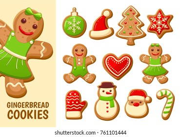 Gingerbread cookies for christmas. Collection of 11 cookies, isolated on white background.