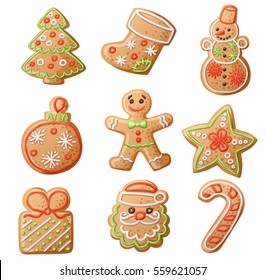 Gingerbread Cookies set isolated on white background. Decorative Xmas tree, sock, snowman, ball, man, star, gift, santa claus, candy