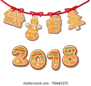 Gingerbread cookies set on garland vector isolated illustration on a white background. New year 2018 numbers baked cartoon sweet cake snowman, tree house gift. Traditional winter holiday home treat
