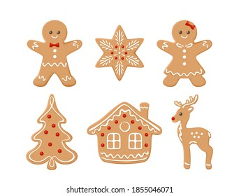 Gingerbread cookies set. Vector illustration of Christmas baking. Gingerbread man, Christmas fir tree, reindeer, house and snowflake in sugar icing isolated on white background. Cartoon flat style.