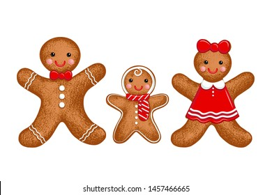 Gingerbread family. Mom, Dad and Baby.Vector illustration of holiday baking. Christmas collection.