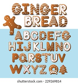 Gingerbread font and gingerbread man EPS 10 vector