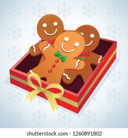 Gingerbread with gift box. Vector illustration of gingerbread with beautiful Christmas gift box.