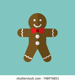 gingerbread ginger bread man coocie bake sweet traditional food xmas christmas flat icon
