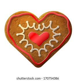 Gingerbread heart decorated colored icing. Holiday cookie in shape of heart. Qualitative vector (EPS-10) illustration for valentine's day, wedding, cooking, romantic relationship, food, love, etc