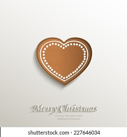 gingerbread heart love card paper 3D natural vector