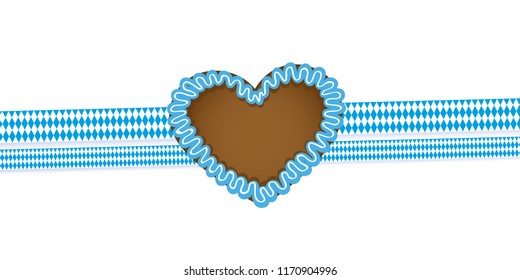 gingerbread heart and ribbon bavaria colors vector illustration EPS10